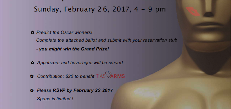 Celebrate the Oscars – Sunday 2/26/17 – Click HERE for full details and to purchase tickets!